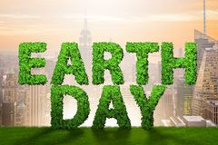 The earth day concept with green letters - 3d rendering Royalty Free Stock Photo