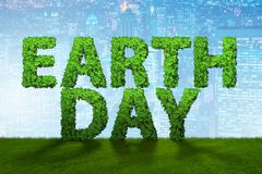 The earth day concept with green letters - 3d rendering Stock Photography