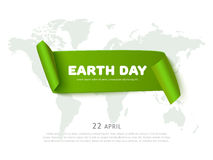 Earth day concept with green paper ribbon banner, world map and text, realistic vector eco background. World Earth day concept with green curved paper ribbon Vector Illustration