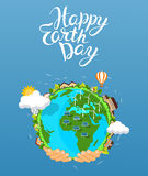 Earth day concept. Human hands holding floating globe in space.. Save our planet. Flat style vector  illustration. EPS 10 Royalty Free Stock Images