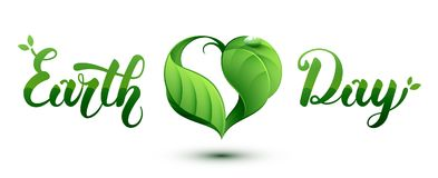 Earth Day concept illustration. Leaf in a heart shape. Vector illustration Royalty Free Stock Images