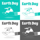 Earth Day  Concept. Nature in human hands. Flat design. Stock Photo