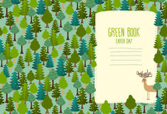 Earth Day. Cover art for book. template Green Book. Deer Royalty Free Stock Photography