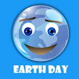 Earth day creative poster card with emoticon globe Royalty Free Stock Photos