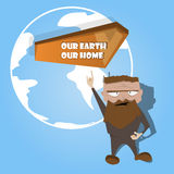 Earth day creative poster card with man and wooden banner Royalty Free Stock Photos