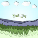 Earth day 3d illustration with landscape of mountains,with grass and clear sky. Symbolism of ecology, eco system, planet Stock Image