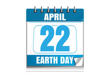Earth Day date in the calendar. 22 April Royalty Free Stock Photo