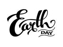 Earth day design. Hand drawn Earth Day lettring. Black and white. Eps8 vector illustration