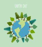 Earth day. Earth with trees.   Vector geometric trees and grass Royalty Free Stock Images