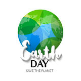 Earth Day. Earth World map globe sign. Hand drawn lettering quote earth day. Greeting card, poster, web design Stock Photos