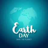 Earth Day. Earth World map globe sign. Hand drawn lettering quote earth day. Greeting card, poster, web design Royalty Free Stock Photography