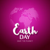 Earth Day. Earth World map globe sign. Hand drawn lettering quote earth day. Greeting card, poster, web design Royalty Free Stock Images