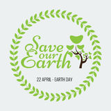 Earth Day Eco Green Vector Design. Circle Organic Leafs Royalty Free Stock Photo