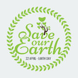Earth Day Eco Green Vector Design. Circle Organic Leafs Stock Photo