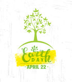 Earth Day Eco Green Vector Poster Design. Organic Tree Concept on Paper Background Stock Image