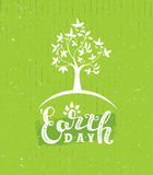 Earth Day Eco Green Vector Poster Design. Organic Tree Concept on Paper Background Stock Images