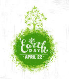 Earth Day Eco Green Vector Poster Design. Organic Tree Concept on Paper Background Stock Photography
