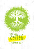 Earth Day Eco Green Vector Poster Design. Organic Tree Concept on Paper Background Royalty Free Stock Images
