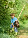 Earth day. Eco life. summer activity. human and nature. happy child farmer use garden shovel, spring. small kid gardener stock images