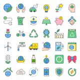 Earth day and ecology filled outline icon. Saving energy, water and recycle concept Royalty Free Stock Image