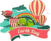 Earth Day emblem. Colorful logo with nature and the globe rainbow Stock Photos