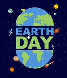 Earth Day emblem. Logo for Holidays of  Earth. Silhouette of con Royalty Free Stock Photos