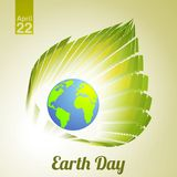 Earth Day. Emblem with Earth and leaf Royalty Free Stock Images