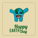 Earth Day, excited blue planet over color background Royalty Free Stock Images