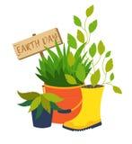 Earth day, flower pot vector illustrations Stock Photos