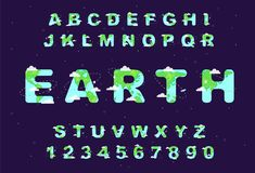 Earth Day Font. Alphabet Earth. Earth Day Font. Eco ABC. Elements design. Space Alphabet. Cute Cartoon Earth, Planets, rockets, clouds and satellites. Kid s vector illustration