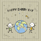 Earth day. Globe illustration vector concept, with kids. April 22 world environment background, poster. Sketch drawing on paper, of two children holding a Stock Photo