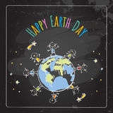 Earth day. Globe illustration vector concept, with kids. Children around the globe. Chalk on blackboard drawing, April 22 world environment background, poster Royalty Free Stock Photos
