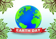 Earth Day globe. Earth Day poster with globe on white background royalty free illustration