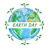Earth day. Globe with tree sprout, watercolor illustration royalty free illustration