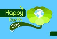 Earth Day Green Flower Globe World Flat Stock Photos