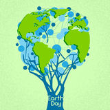 Earth Day Green Tree With Globe World Concept. Vector Illustration Stock Photos