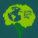 Earth Day Green Tree With Globe World Silhouette Royalty Free Stock Images
