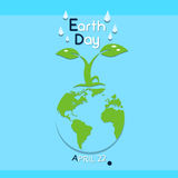 Earth Day Green Tree Growing Globe Ecological Protection Royalty Free Stock Photography