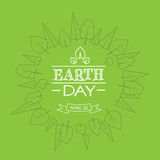 Earth Day Green World Globe Tree Plant Sketch Thin Line Stock Photography