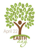 Earth Day greeting with abstract tree as human figure and leaves Stock Images