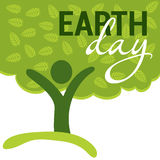 Earth Day greeting with abstract tree as human figure Stock Photography