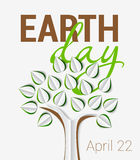 Earth Day greeting with tree made of paper with shadow stock illustration