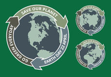 Earth day grunge badge Stock Image