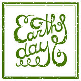 Earth Day hand-drawn lettering. Royalty Free Stock Images
