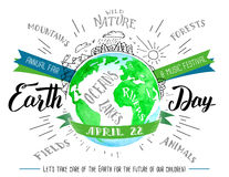 Earth Day hand lettering and calligraphy watercolor flyer Stock Images