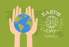 Earth Day Hands Hold Globe Over World Map. Background Flat Vector Illustration Royalty Free Stock Image