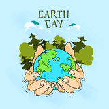 Earth Day Hands Hold Globe With Trees Forest Sketch Royalty Free Stock Photo