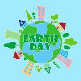 2018.03.26_2 earth day. Happy Earth day poster. Vector illustration Stock Illustration
