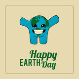 Earth Day, happy planet over color background Stock Photography
