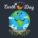 Earth day, happy planet surrounded by clouds looks at bird, ecology world concept , green and blue globe protection. Global eco save nature vector illustration Royalty Free Stock Photography